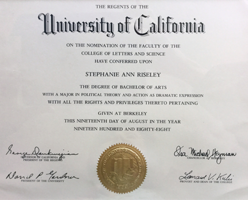 BA Degree University California Berkeley